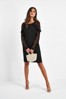 Lace Insert Ruffle Dress