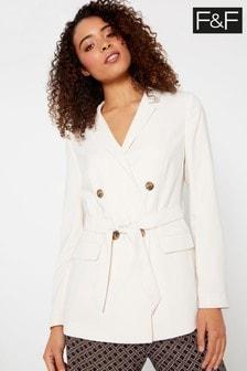 F&F Ivory Blazer Bon Belted Jacket