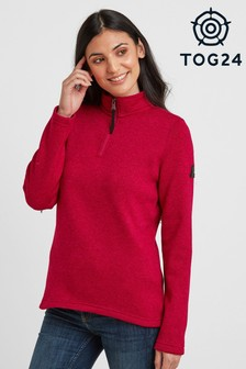 Tog 24 Womens Red Pearson Knitlook Zip Neck Top