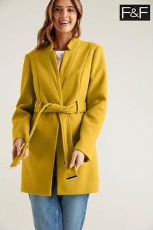 F&F Notch Neck Belted Ochre Coat