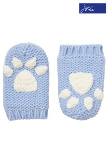 Joules Blue Paws Knitted Mittens