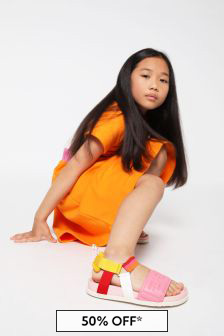 Fendi Kids Girls Pink Leather Sandals