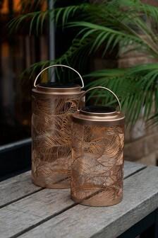 Set of 2 Leaf Design Solar Lanterns