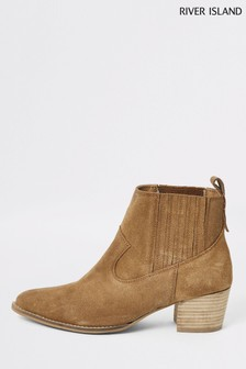 River Island Brown Light Polo Western Boots