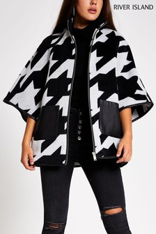 River Island Black Check Houndstooth Jude Cape