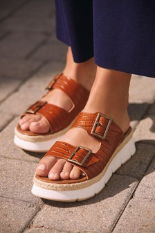 Leather Double Buckle Flatform Sandals