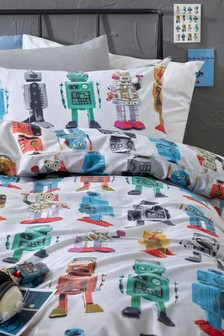 Colourful Robots Duvet Cover And Pillowcase Set