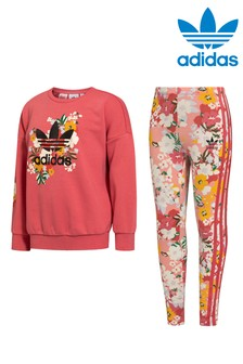 adidas Originals Little Kids Floral Crew Sweatshirt And Joggers Set