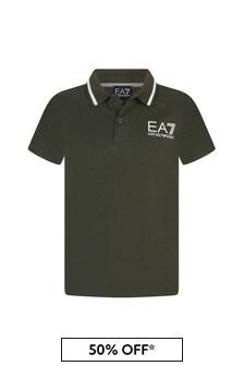 EA7 Emporio Armani Boys Khaki Cotton Polo Top