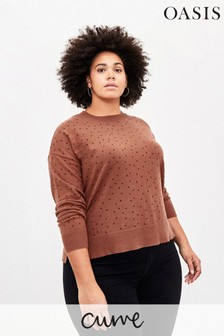 Oasis Curve Brown Polka Dot Jumper