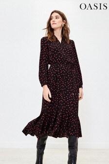 Oasis Black Heart Print Shirt Dress