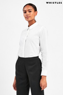 Whistles White Cotton Long Line Shirt