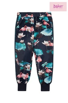 baker by Ted Baker Navy Print Cuffed Satin Trousers