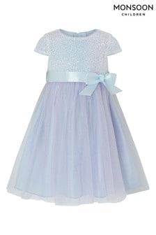 Monsoon Children Blue Baby Elsie Dress