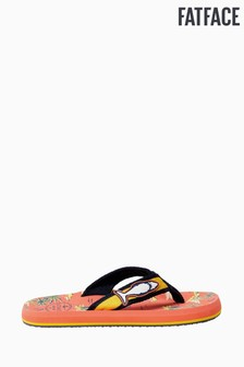 FatFace Orange Resort Print Flip Flops