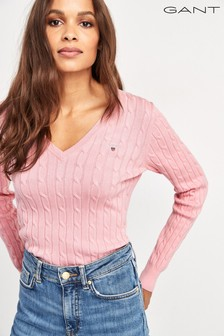 GANT Stretch Cotton Cable V-Neck Jumper
