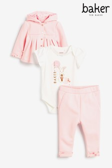 Baker by Ted Baker Pink Bunny Jacket, Joggers And Bodysuit Set
