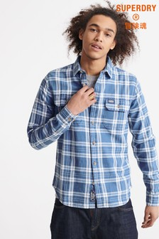 Superdry Blue Checked Long Sleeve Shirt
