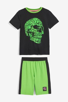 Graffiti Skull Flock Print Short Pyjamas (3-16yrs)