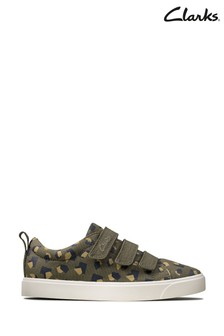Clarks Olive Camo City Vibe K Canvas Shoes
