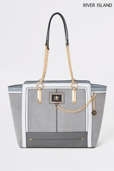 River Island Grey Winged Tote Bag