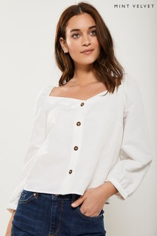 Mint Velvet White Square Neck Button Down T-Shirt