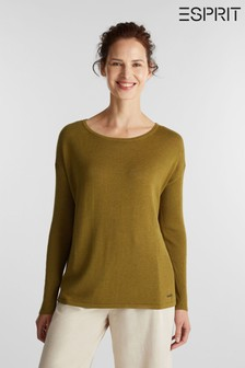 Esprit Green Long Sleeved Round Neck Sweater