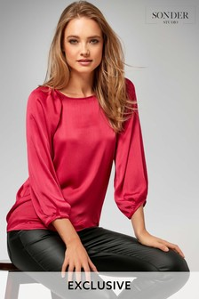 Sonder Red Pleat Shoulder Blouse