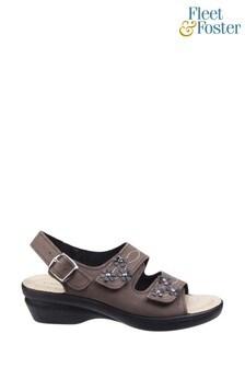 Fleet & Foster Brown Amaretto Womens Touch Fastening Leather Sandals