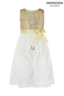 Monsoon Ivory Swara Swan Dress