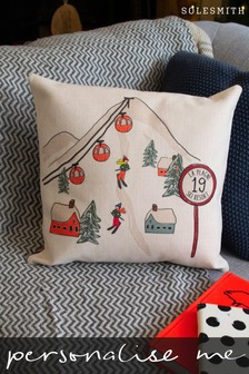 Personalised Ski Scene Cushion by Solesmith
