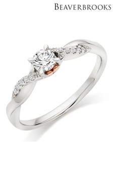 Beaverbrooks 18ct White Gold and Rose Gold Diamond Rose Hearts Ring