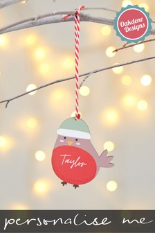 Personalised Robin Hanging Decoration by Oakdene Designs