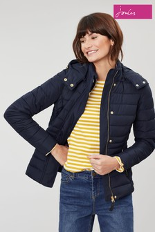 Joules Blue Linden Short Padded Coat