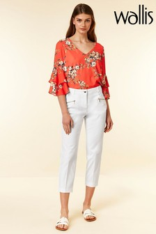 Wallis White Zip Pocket Cotton Crop Trouser
