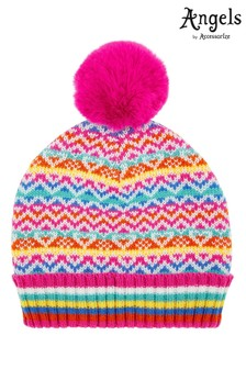 Angels by Accessorize Pink Fun Bright Fairisle Pattern Beanie