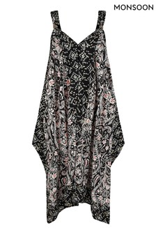 Monsoon Black Foil Print Dress