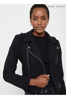 Mint Velvet Black Frayed Edge Biker Jacket