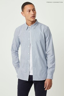 Chemise à fines rayures French Connection bleue