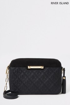 River Island Black Mono Boxy Cross Body Bag