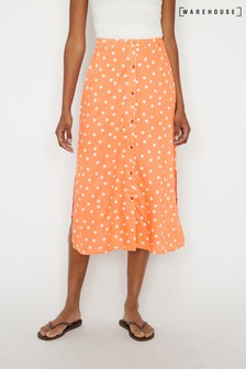 Warehouse Red Polka Dot Button Midi Skirt