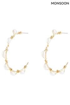 Monsoon Gold Tone Pearly Hoop Earrings
