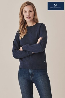 Crew Clothing Company Blue Brushed Back Crew Sweatshirt