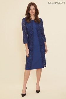 Gina Bacconi Blue Farlyn Crepe And Lace Dress
