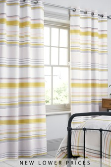 Fresh Stripe Blackout Lined Eyelet Curtains