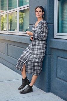 Elastic Waist Midi Dress