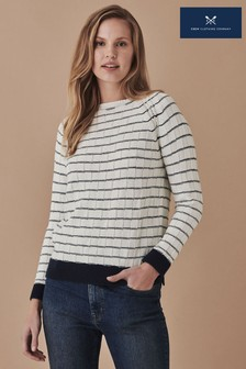 Crew Clothing Company White/Navy Stripe Madison Jumper