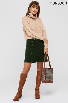 Monsoon Green Libby Cord Skirt