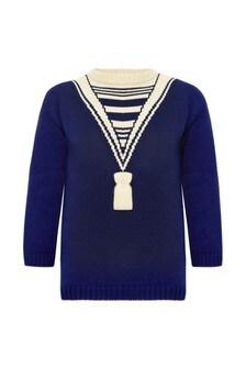 Girls Blue Cotton Jumper