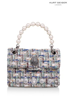 Kurt Geiger London Blue Tweed Mini Kensington X Fabric Bag